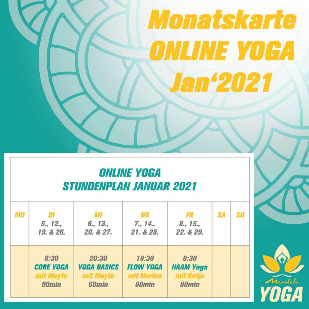 Mandala Online Yoga im Januar