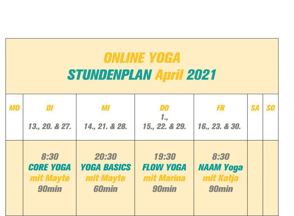 Stundenplan Yoga April 2021